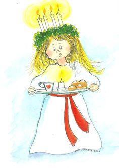 Postcrossing postcard from Finland Christmas Illustration, Cute Illustration, Swedish Christmas Traditions, Santa Lucia Day, Christmas Art, Vintage Christmas, Sainte Lucie, Sankta Lucia, Little Flowers