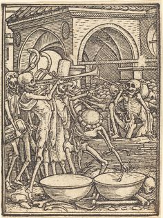 Hans Holbein's The Dance of Death, a series of forty-one miniature woodcuts about the triumph of death, was produced between 1523 and 1525. In making these depictions, the Cambridge scholar Ulinka Rublack observes, Holbein was intensely engaged with the problem of corruption in politics.