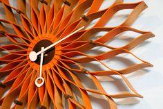 NELSON ORANGE SUNFLOWER CLOCK