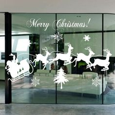 Santa Claus Carriage Christmas Tree snowflake Vinyl Wall Stickers Xmas Art Decal
