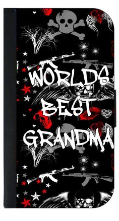 World's Best Grandma- Graffiti Punk Style Apple iPhone 7 PU Leather and Suede Wallet Style Phone Case Made in the USA. Quality Sturdy Wallet Phone Case with Magnetic Flap Closure and 3 Inner Pockets for Storage; Compatible with the Standard Apple iPhone 7 phone model (Not Compatible with the Apple iPhone 7 Plus/7+). Quick Processing and Shipping! Satisfaction Guaranteed!. Vibrant Flat Printed Design; No Textured/3d/Metallic Print. Rosie Parker's designs and images are registered with the...