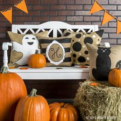 These pillows are spook-tacular and so easy to make! Simply paint or stencil your favorite design onto a pre-made jute pillow cover.