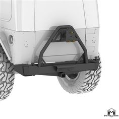 TJ/LJ Jeep Wrangler Rear Bumper Tire Carrier System can support up to a 38' tire and is fully adjustable for tire size and backspacing mounting with a unique dual bearing.