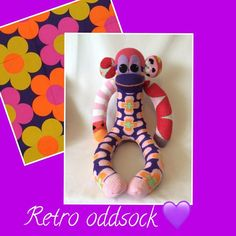 """21 Likes, 1 Comments - Julie Scollick (@juliescollick) on Instagram: """"Retro oddsock monkey #madewithsocks #fun #fab #retro #colours #cool #sunnyteddys #love #handmade…"""""""