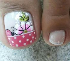 Uñas pie  Uñas pie Pedicure Designs, Pedicure Nail Art, Toe Nail Designs, Toe Nail Art, Cute Toe Nails, Diy Nails, Pretty Nails, Little Girl Nails, Girls Nails
