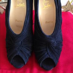 Pre owned gently used Christian Louboutin Pre owned gently used Christian Louboutin Manchon 120 Suede Royal Black Retail price $1095 Size 6 100% authentic. #louboutin Christian Louboutin Shoes
