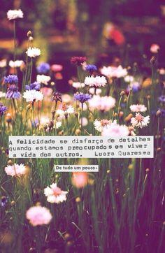 """#disfarces - """"A felicidade se disfarça de detalhes quando estamos preocupados em viver a vida dos outros."""" - Luara Quaresma"""