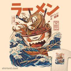 Great Ramen Off Kanagawa   Shirtoid #hokusai #ilustrata #ramen #ramennoodles #thegreatwaveoffkanagawa