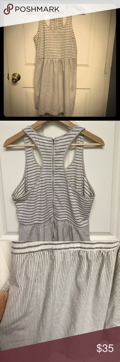 LOFT Summer dress Only worn twice and in excellent condition. Polyester, cotton,& linen- perfect for the summer. Racer-back with zipper. Gray and white. Has pockets. LOFT Dresses