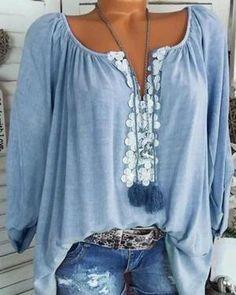 8d5187572d Long Sleeve Casual Solid V neck Plus Size Blouse Linen Blouse