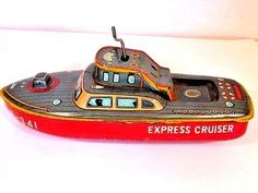 VINTAGE 1960'S BANDAI EXPRESS CRUISER TIN WIND-UP TOY BOAT B-341 MADE IN JAPAN