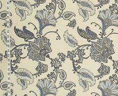 Blue paisley Indienne fabric grey handprint