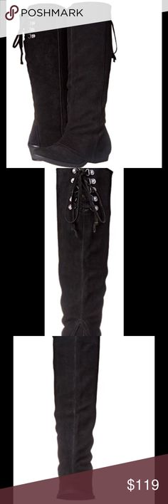 "Naughty Monkey Women's  Solstice Tall Boot NWT Suede Imported Synthetic sole Shaft measures approximately 16.5"" from arch Heel measures approximately 1.5"" Platform measures approximately 0.25 Knee-length boot with cuffed shaft and lace behind calf naughty monkey Shoes Heeled Boots"
