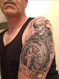What does pirate tattoo mean? We have pirate tattoo ideas, designs, symbolism and we explain the meaning behind the tattoo. Helm Tattoo, Pirate Tattoo, Pirates, Tattoos, Design, Ideas, Pirate Tattoo Sleeve, Tatuajes, Tattoo