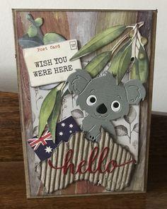 Aussie card using koala die from AliExpress Aliexpress Dies Cards, Christmas Australia, Christmas Cards, Christmas Decorations, Animal Cards, Die Cutting, Teddy Bears, Handmade Cards, Wedding Cards