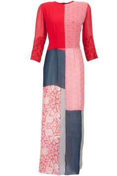 Red and blue tunic with printed patchwork available only at Pernia's Pop-Up Shop.