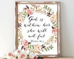 God is within her, she will not fail, bible verse, psalm 46 5, printable art, she will not fall, scripture, psalm 46,christian,inspirational by AdornMyWall on Etsy