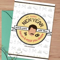 """New to DesignGenesStudio on Etsy: Printable new year card """"Give me all the bacon and eggs you have"""" Ron Swanson parks and rec funny new years card 5x7 instant download (5.00 USD) #greetingcards #mugs #gifts"""