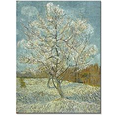 Wieco Art - The Pink Peach Tree by Van Gogh Famous Oil Paintings Reproduction Large Modern Stretched and Framed Landscapes Artwork Giclee Canvas Prints Classic Pictures on Canvas Wall Art for Home Dec -- Click image for more details. (This is an affiliate link) #WallArt