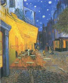 Taras kawiarni w Arles noca