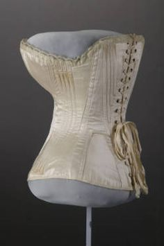 Wedding Corset (image 3) | American | 1874 | silk satin, lace | Chicago History Museum | Museum #: 1977.77.1