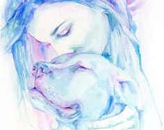 pitt bull watercolor painting   True Love Is A Dog's Love, watercolor print, staffie, pitbull painting