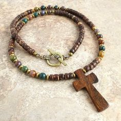 Wood Cross Pendant Coconut Palm Necklace with Multi-color Bloodstone Accents - 18 to 24in for Men and Women - Handmade $32.95 +