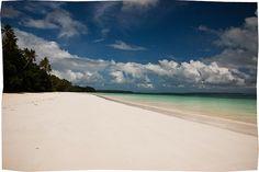 Long white sandy beach.. Pasir Panjang Beach, Kei Island, Indonesia