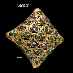 BSK Domed GoldPlated Emerald Green and Sapphire by AntiquingOnLine, $39.00