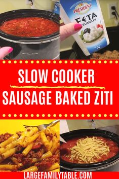 Need a fast but hearty dish for your large family? This slow cooker sausage baked ziti is sure to become a family favorite! Use your Crockpot to save time! Slow Cooker Baked Ziti, Slow Cooker Freezer Meals, Slow Cooker Chicken, Slow Cooker Recipes, Crockpot Recipes, Diet Recipes, Pork Recipes, Baked Ziti With Sausage, Homemade Sloppy Joes