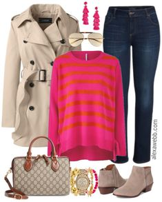Plus Size Striped Sweater Outfit - Plus Size Outfit Idea - Plus Size Fashion for Women - alexawebb.com #plussize #alexawebb