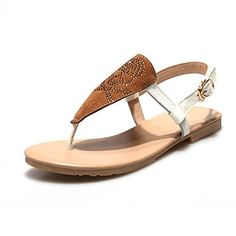 b22311b9a14 Lucksender Womens Flat Thong Strap Sandals with Rhinestone 75BMUS Brown    Read more reviews of the