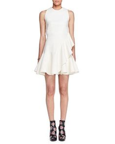 ALEXANDER MCQUEEN SLEEVELESS RUFFLE-TRIM SCUBA DRESS, IVORY. #alexandermcqueen #cloth #