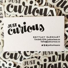 #Repost @justcuriousco  New business cards AND stickers came in the mail today! I can't wait to hand these out.  www.justcurious.co  #business #businesscards #sticker #stickers #logo #branding #justcurious #handlettering #lettering #design #annarbor #ypsilanti #detroit #create #freelance #identity #web #website #launch #illustrator by stickermule
