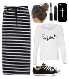 """""""black and white"""" by make-my-modest-closet ❤ liked on Polyvore featuring WithChic, Converse, Casetify and Chanel"""