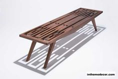 Shadow + Light: Intricately Patterned Handcrafted Wood Bench - http://www.inthomedecor.com/impressive-designs/shadow-light-intricately-patterned-handcrafted-wood-bench.html