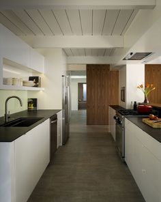 the renovated kitchen in an Eichler home in California