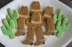 HEY COWBOY - Cowboy Decorated Cookies - Western Decorated Cookie Favors - Cowboy Hat - Cowboy Boots - Cactus - 1 dozen