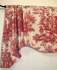 "WAVERLY~Country Life~TOILE~RED~French Country~Handmade ~VALANCES~24"" length side #Handmade #FrenchCountry"