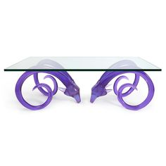 "Jonathan Adler - Aries Cocktail Table Rams Head 54""W x 30""D x 18.65""H purple #colorfurniture"