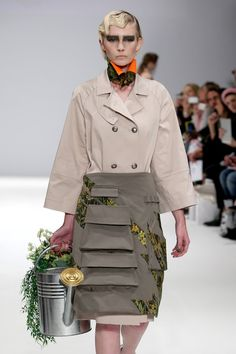 A model walks the runway at the Merit Award winner Gyo Yuni Kimchoe's show during London Fashion Week Spring Summer 2015 at Fashion Scout Venue on September 13, 2014 in London, England.