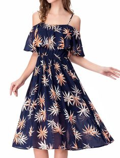 Noctflos Women s Floral Chiffon Cold Shoulder Summer Spaghetti Strap Midi  Dress 4726c74a59f3