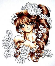 brown hair tutorial - Skin: E000, E00, E11, R11 | Hair: E21, E25, E29 | Roses: R81, R85, R59 | Flowers: V000, V01, V04, V09
