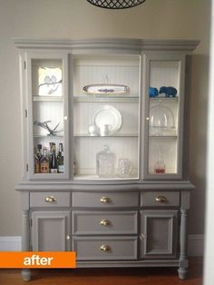 Before & After: An Outdated Hutch Goes Cottage Chic gray and white chalk painted hutch Refurbished Furniture, Repurposed Furniture, Shabby Chic Furniture, Furniture Makeover, Antique Furniture, Gray Painted Furniture, Wooden Furniture, Refurbished Hutch, Antique Dressers