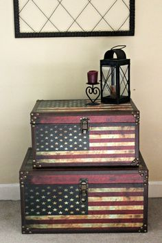 Early American decor lends itself to the stars and stripes! Flag Trunks from HomeGoods