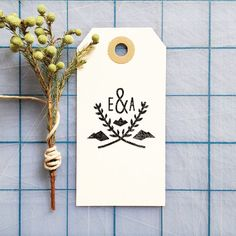 Estes Custom Mountain Crest Monogram Stamp by bleucollarpaperie, $30.00