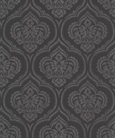 Glitter Damask (40590) - Albany Wallpapers - An all over wallpaper design featuring an elegant glitter damask motif. Shown here in black with silver glitter detailing. Other colourways are available. Please request a sample for a true colour match.