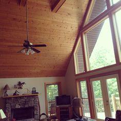 wood ceiling and wood trim windows Oak Trim, Cottage Door, Apple Valley, Wood Ceilings, Cabin Ideas, Lake View, Ceiling Fan, Paint Colors, Nest