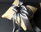 Rustic Earthy Burlap Ring Bearer Pillow with Satin Ribbons...BOGO Half Off..Customized with Your Wedding Colors...shown in pewter charcoal