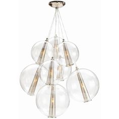 Caviar Fixed Glass Cluster Arteriors Home Size: Large, Finish: Polished Nickel / Clear